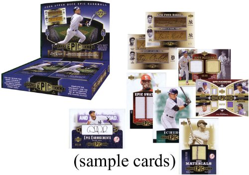 2006 Upper Deck Epic Baseball Cards Unopened Hobby Box – 5 Packs/box – 1 Autograph or Memorabilia Card Per Pack (#'d to 199 or less)-Look for rare cut autographs, 1of1 cards, and more!