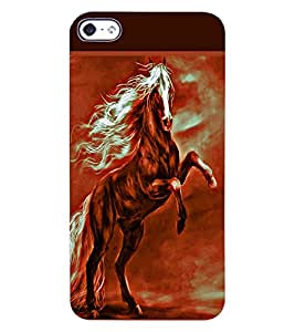 ColourCraft Amazing Horse Design Back Case Cover for APPLE IPHONE 4