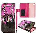Pink Camo Deer Pine Leather Wallet Flip ID Pouch Apple Iphon 5, 5S at&t. Verizon, Sprint, C Spire Case Cover Hard Phone Case Snap-on Cover Protector Rubberized Touch Faceplates