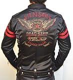 当店別注 VANSON バンソン ボンディング シングル ライダース フライングスター 背面総刺繍 XXLサイズ有 ABV-503 ブラック色 アメカジ バイカー