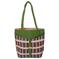 Womaniya Women's Handbag (Green) (Handicraft Jute Bag)