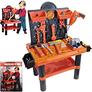 CHILDRENS 54PC TOOL BENCH PLAY SET WORK SHOP TOOLS KIT ...