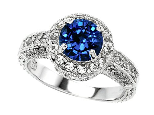 Star K 7Mm Round Created Sapphire Engagement Ring Size 7