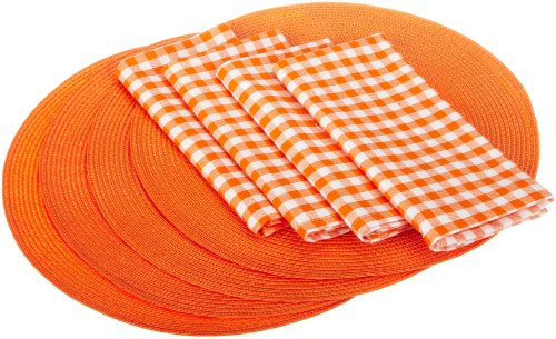 DII Summer Fun Braided Placemat and Beach Check Napkin Linen Set, Mandarin Orange