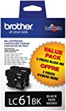 Brother LC61BK2 Ink Cartridge, 500 Page-Yield (Black)