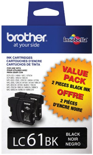 Brother LC61BK2 2-Pack Ink Cartridge, 500 Page-Yield, Black