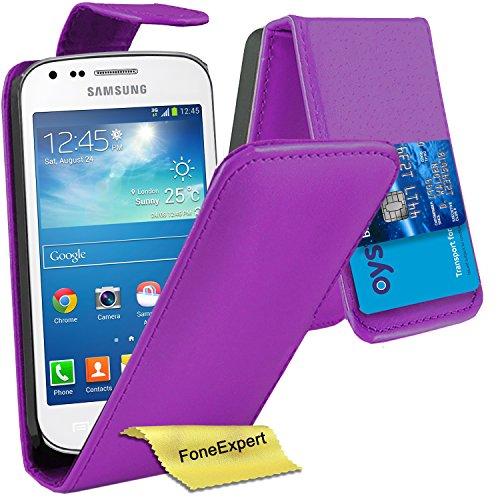 Samsung Galaxy Trend / Trend Plus Hülle, FoneExpert® Hülle Wallet Case Cover Hüllen Etui Ledertasche Premium Lederhülle Schutzhülle für Samsung Galaxy Trend / Trend Plus (GT-S7560 / GT-S7580) + Displayschutzfolie (Flip Lila)