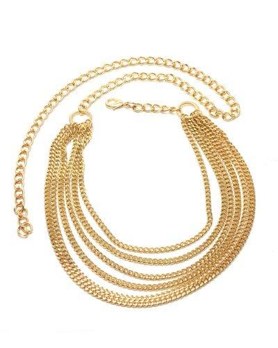 NYfashion101 Trendy Belly Chain Belt w/ Multi Link Chains & Loop IBT1005-Gold