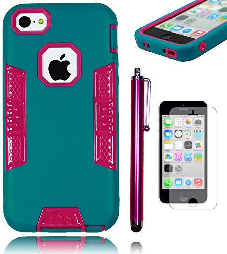 Bastex Hybrid Heavy Duty Non-Slip Hot Pink And Teal Rubberized Protection Case - Robotic Design Shell For Apple Iphone 5, 5S, 5G, 5Th Generation **Includes Stylus And Screen Protector** front-367825