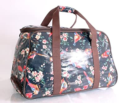 Blossom Birds Dark Blue Colour Trolley Bag/Travel Bag on wheels/ Luggage/gym bag/weekend bag