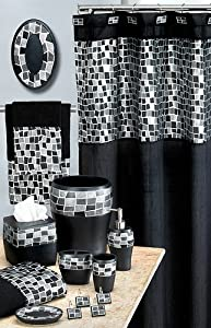 Popular Bath Mosaic Stone Black Shower Curtain Black Mosaic Bathroom Accessories