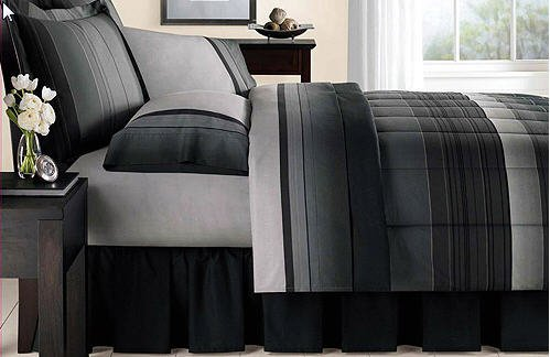 Gray Striped Bedding 172364 front