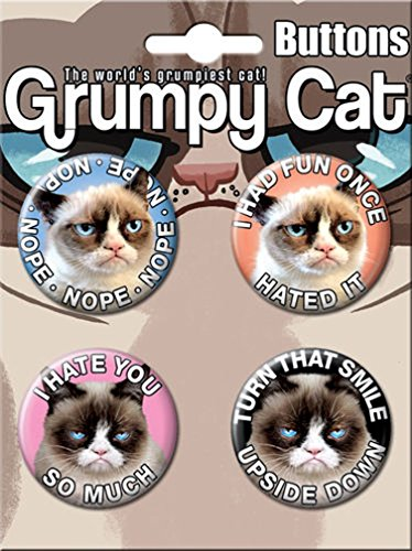 Ata-Boy Grumpy Cat Assortment #1 4 Button Set
