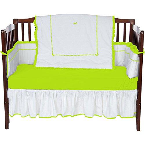 Baby Doll Unique 4 Piece Crib Bedding Set, Green Apple