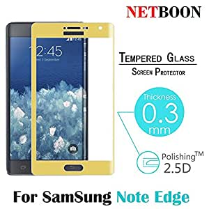 NETBOON® Branded Samsung Galaxy Note Edge full Coverage 3D Plating Tempered Glass Screen Guard - Anti Explosion, Original Crystal Clear Screen Guard, Anti-Scratch Screen Premium Quality Best Protector Glass, Shatterproof, Bubble-free, 2.5D Curved Edge - 9H Hardness Protect Mobile Screen from Dust, Bumps, Scratches, Dirt or any unwanted wear and tear - Gold