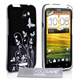 HTC One X Stylish Black And Silver Butterfly Floral Pattern Hard Hybrid Case Cover With Screen Protector Film And Grey Micro-Fibre Polishing Clothby Yousave