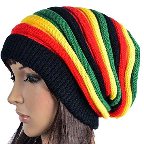 Molie Womens Winter Hip Pop maglia Beanie cappello a righe arcobaleno