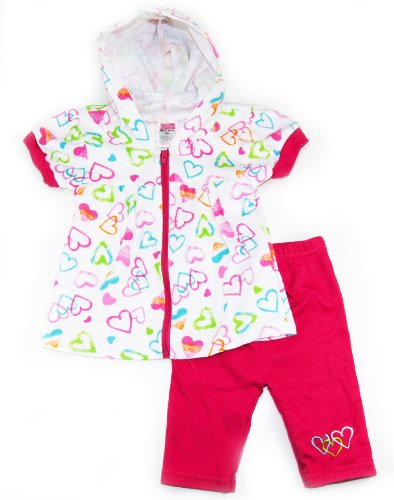Coney Island Baby Girls Hearts Zipped Hoodie Top Capri Pants Set 3-6M Pink back-118661