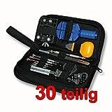 FINEO® Uhrenwerkzeugset 30-teilig in Nylontasche Uhrwerkzeug Uhrmacherwerkzeug für jedermann Reparatur