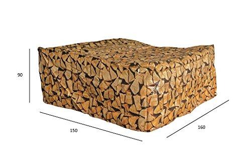 Luxus Schützhülle für Gartenmöbel-Set 120 cm , Schutzabdeckung mit einzigartigem Brennholz Druck, Schwerlast 220 gr/m2 günstig