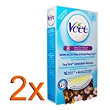2x Veet® Bikini and Underarm Wax Strips with Vitamin E and Almond Oil for sensitive skin/ 16 strips, 4 wipes per pack