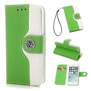 """VCOER Premium Book Style PU Ledertasche / Schutzhülle / Hülle / Cover / Shell / Leder Skin / Flip Case Handy Tasche In der """"Leather Wallet Edition"""" - Design aus PU Leder INKLUSIVE Standfunktion Kredit- oder Visitenkarten für Apple iPhone 5 5G 5S (Green Grün)"""