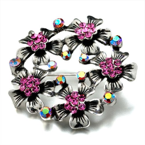 Pugster Swarovski Crystal Flowers Dazzle Brooches And Pins