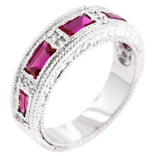 Five Stone Emerald Cut Garnet Cubic Zirconia CZ Eternity Promise Ring in Silver Tone (Size 5,6,7,8,9,10)