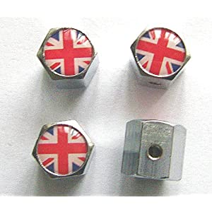 United Kingdom England British Flag Anti-theft Car Wheel Tire Valve Stem Caps