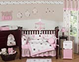 Contemporary Pink and Brown Modern Polka Dot Baby Girl Bedding 9pc Crib Set by Jojo Designs