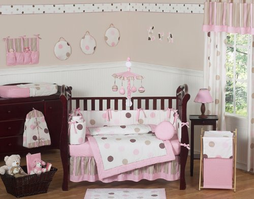 Sweet Jojo Designs Contemporary Pink and Brown Modern Polka Dot Baby Girl Bedding 9pc Crib Set