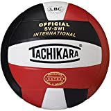 Tachikara SV5WI International Competition Premium Leather Volleyball (Scarlet/White/Black), One Size/Scarlet/White/Black