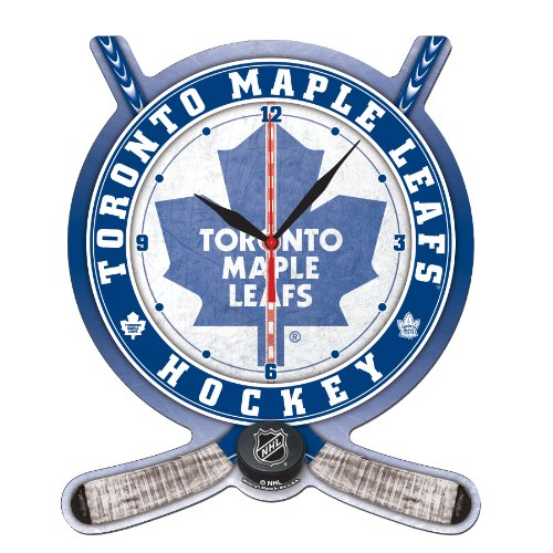 NHL Toronto Maple Leafs Hockey Stick and Puck High Definition Clock