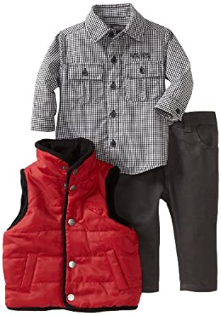 Kenneth Cole Baby-boys Infant Vest with Shirt and Jean, Red, 24 Months