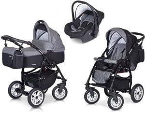 PREMIUM 3 en 1 Carrito PASSO convertible con capazo, saco para las piernas, bolsa para pañales, capota y silla de coche (grupo 0+) / 6 diseños de color disponibles de LCP Kids®