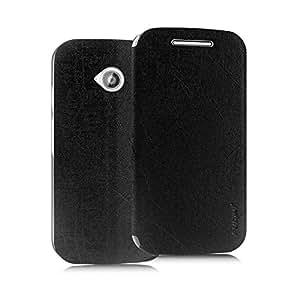Pudini® Yusi Rain Series Leather Flip Cover Stand Case for Motorola Moto E 2nd Gen (2015) - Black