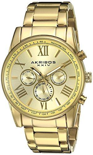 Akribos-XXIV-Mens-AK904YG-Gold-Tone-Multi-Function-Quartz-Bracelet-Watch