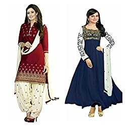 Sky Global Women's Printed Unstitched Regular Wear Salwar Suit Dress Material (Combo pack of 2)(SKY_DC_5005)(SKY_501_RED)(Dress_198_FreeSize_Blue)