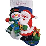 Tobin Santa and Snowman Stocking Felt Applique Kit, 16-Inch Long