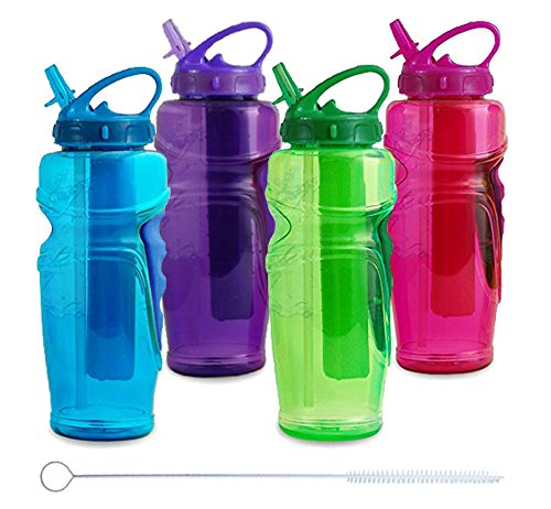 Cool Gear Ez Freeze Water Bottle, 32oz, Solstice - BPA Free - PVC Free - Phthalates Free, Includes Switx® Straw Cleaner - 4 Pack (Cool Gears compare prices)