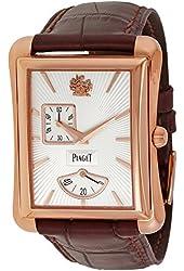 Piaget Black Tie Emperador Silver Dial Brown Leather Mens Watch G0A33070