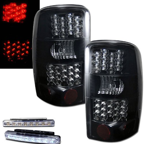2000-2006 Tahoe/Suburban Rear Brake Tail Lights Smoked Lens+Led Bumper Running
