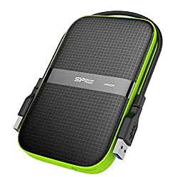 Silicon Power SP020TBPHDA60S3K 2TB Armor A60 Shockproof Portable Hard Drive - USB3.0,(Black/Green)