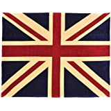 Sleeping Partners Union Jack Flag Coral Fleece Throw Blanket, Red/White/Blue