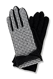 Houndstooth Print Gloves with Wool