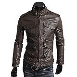 (ライセンス)RAiseNsE メンズライダースジャケット 革ジャン フェイクレザー ブレザー 皮ジャケット#T850 XL 濃ブラウン