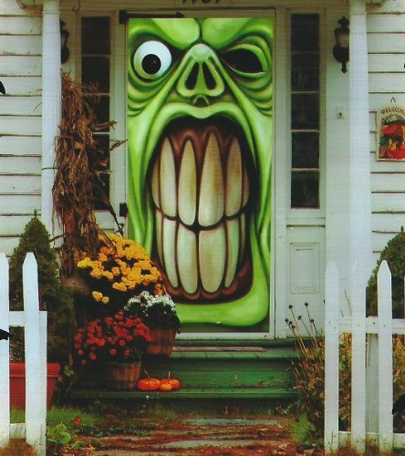 Halloween Haunted House Green Goblin Door Cover