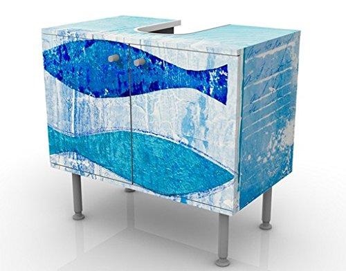 Mobile per lavabo design fish in the blue 60x55x35cm, basso ...