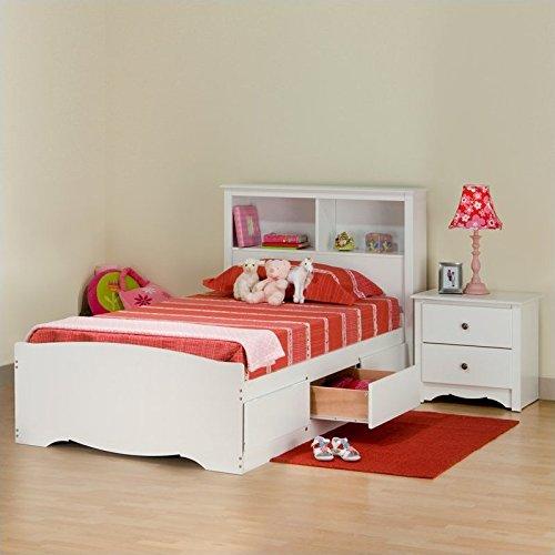 Prepac Monterey White Twin Wood Platform Storage Bed 3 Piece Bedroom Set