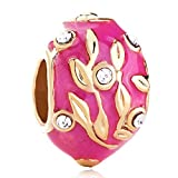 JewelryHouse Faberge Egg Leaves European Beads and Charms for Bracelets (Rose Pink)